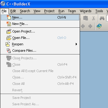 Borland C/C++ builderX compiler IDE new project