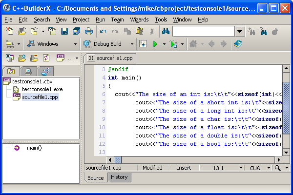 Borland C/C++ builderX compiler IDE key-in the source codes