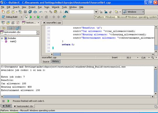 Borland C/C++ builderX compiler IDE another example
