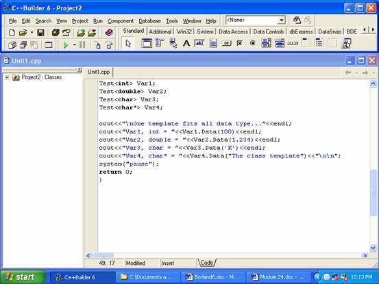 Borland C++ builder 6 compiler IDE editor typing C/C++ codes