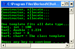 Borland C++ builder 6 compiler IDE example of the console output
