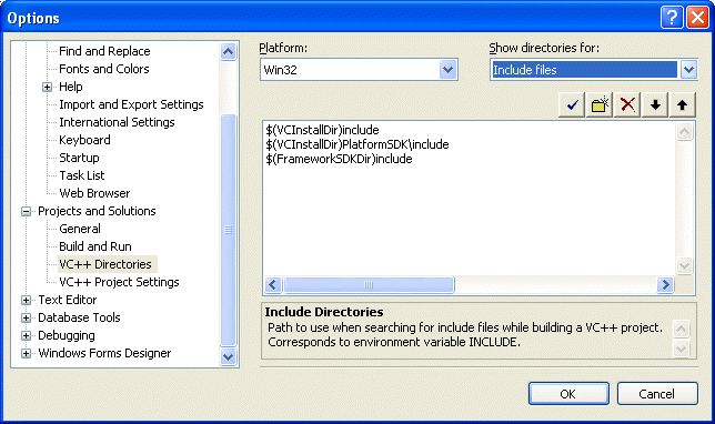 The include directory paths set by default in the Visual C++ 2005 Express Edition Options page