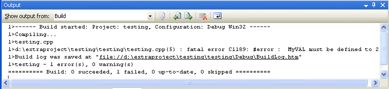 The #error preprocessor directive use as seen in the Output window