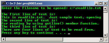 C++ file I/O getline() program example