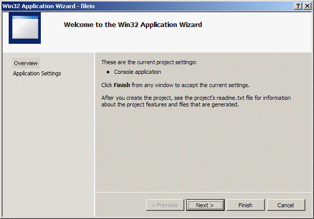 the Win32 application wizard