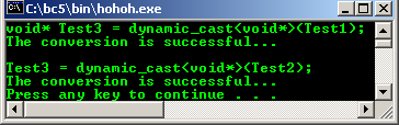 C++ Typecasting inheritance dynamic_cast void pointer program example