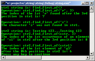 C++ STL character and string manipulation find_first_of()