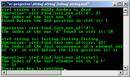 C++ STL character and string find_last_not_of()