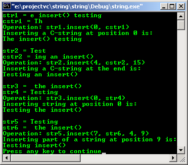 C++ STL character and string insert()