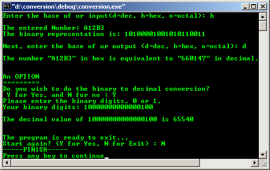 C/C++ int binary hex and octal data type conversion