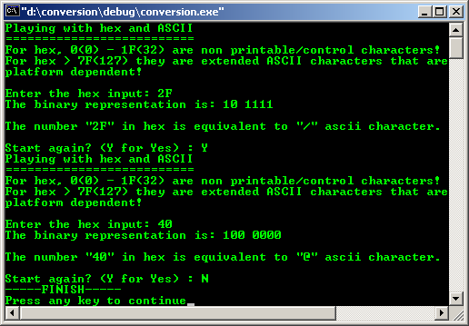 C/C++ hex and ASCII conversion