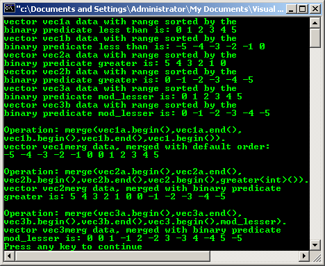 The C++ code samples and program examples of the algorithm standard ...