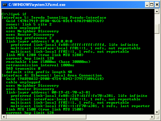 An example of the ipv6 command screen snapshots