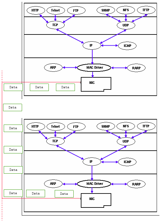 Complete illustration of the TCP/IP