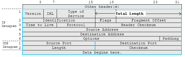 UDP and IP header format illustration