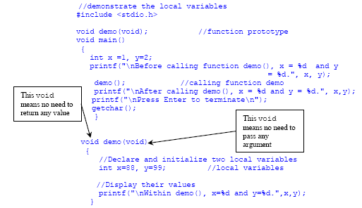 C/C++ function body and return value