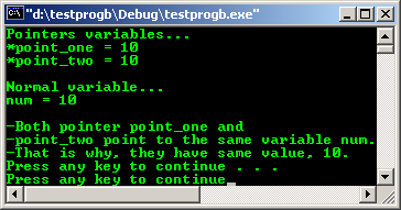 C/C++ pointer program example output snapshot
