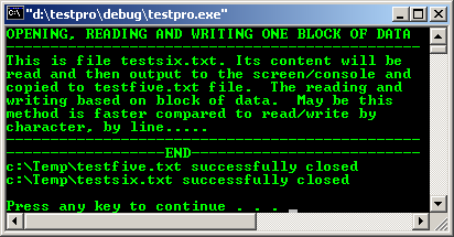 C file I/O open read write by block close file stream example