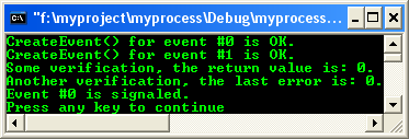 Process & Thread synchronization C program example: Event, CreateEvent()