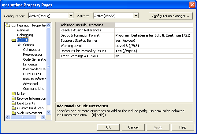 Visual C++ .Net project property settings page