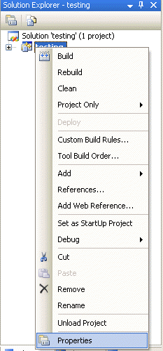 Invoking the Visual Studio C++ project property page