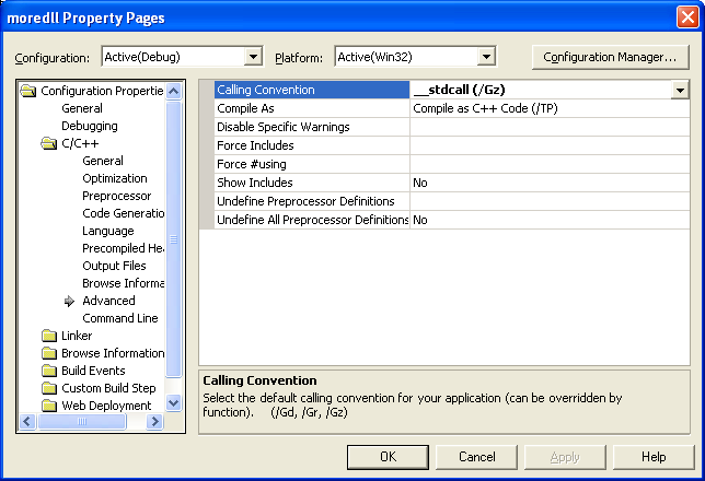 Setting the __stdcall (using WINAPI) function calling convention.