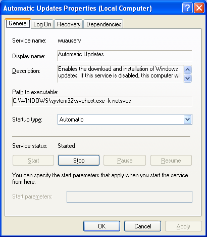 Controlling Windows Services: Service property page