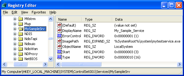 Windows services: Registry verification of the service installation example