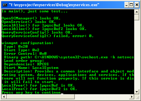 Windows services: Querying a service configuration program example