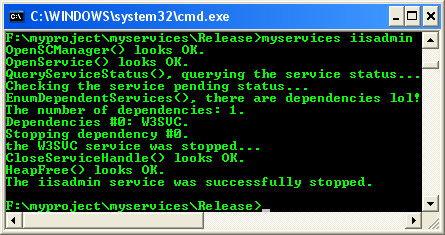 Windows services: Stopping a service program example output.