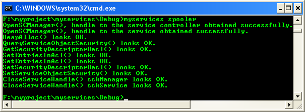 Windows services: Modifying DACL (Access Right) of a service program example