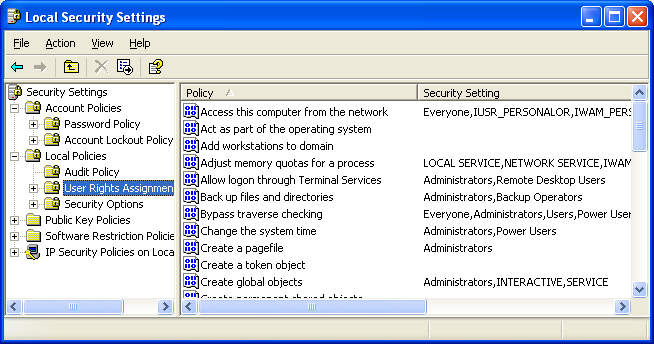 Local security policy as seen for Win Xp Pro