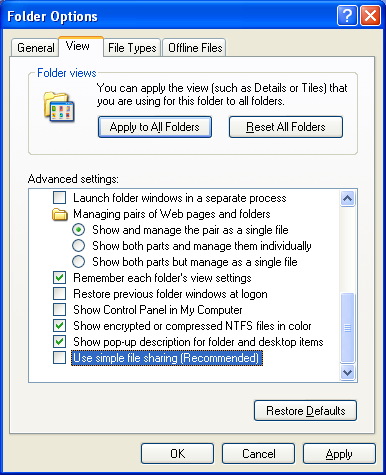 Enabling Windows Xp security tab