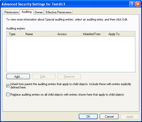 Auditing setting with no entries
