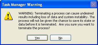 Windows Task Manager: Terminating a process