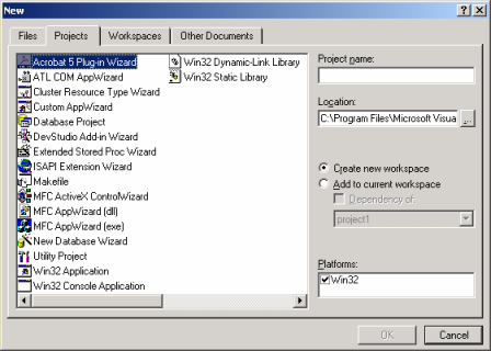 Microsoft Visual C++ compiler new project