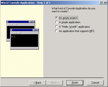 Microsoft Visual C++ compiler new project of console mode application