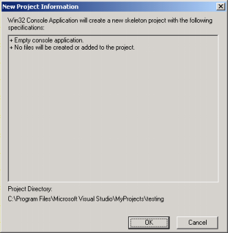 Microsoft Visual C++ compiler new project summary