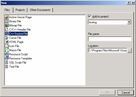 Microsoft Visual C++ compiler new project add source file
