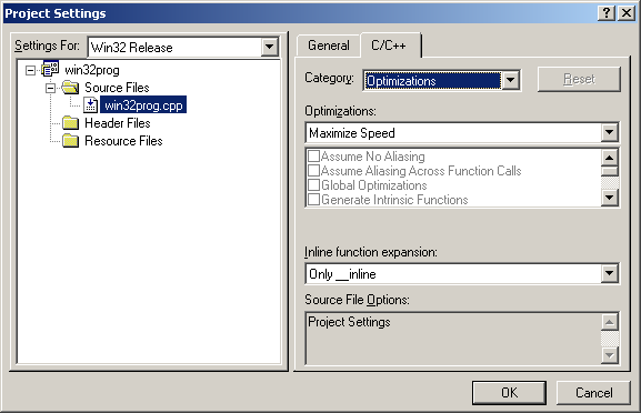 Microsoft Visual C++ compiler new project more release settings