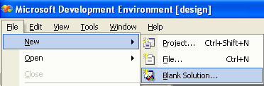 Figure 1: Creating a new Visual C++ .Net project, starting with blank solution.