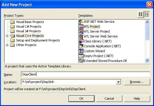 Figure 4: Adding DispClient, a new ATL project to solution.