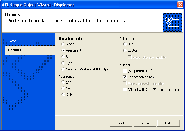 Figure 13: ATL Simple Object Wizard, Options page.