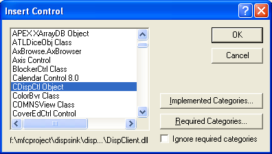 Figure 20: Selecting control in ActiveX Control Test Container.