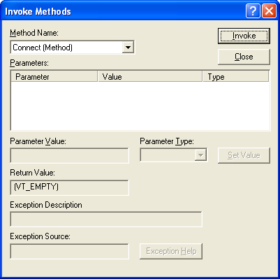 Figure 22: Invoking the Connect() method of the CDispCtl control in ActiveX Control Test Container.