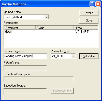 Figure 23: Invoking the Send() method of the CDispCtl control in ActiveX Control Test Container.