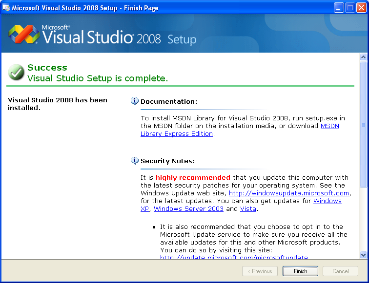 install and use Visual Studio 2008 standard edition on Windows XP Pro SP2 screenshots