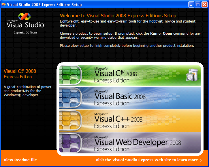 Install the Visual C# 2008 Express Edition: the setup page