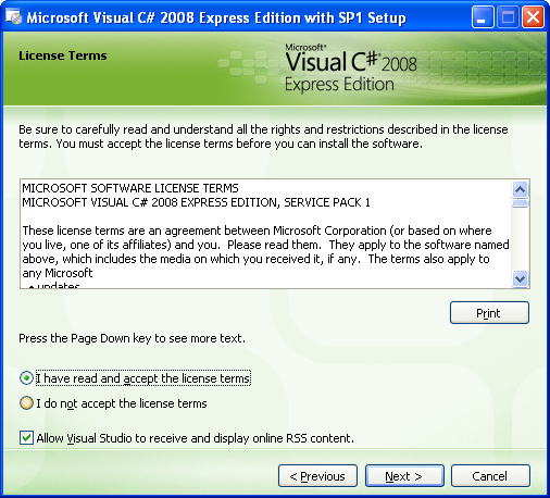 Install the Visual C# 2008 Express Edition: the license terms agreement