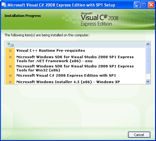 Install the Visual C# 2008 Express Edition: the installation starts